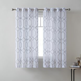 Na Embroidered Geometric Semi Sheer Single Curtain Panel