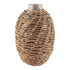 Stone Gray U0026 Natural Seagrass Table Vase