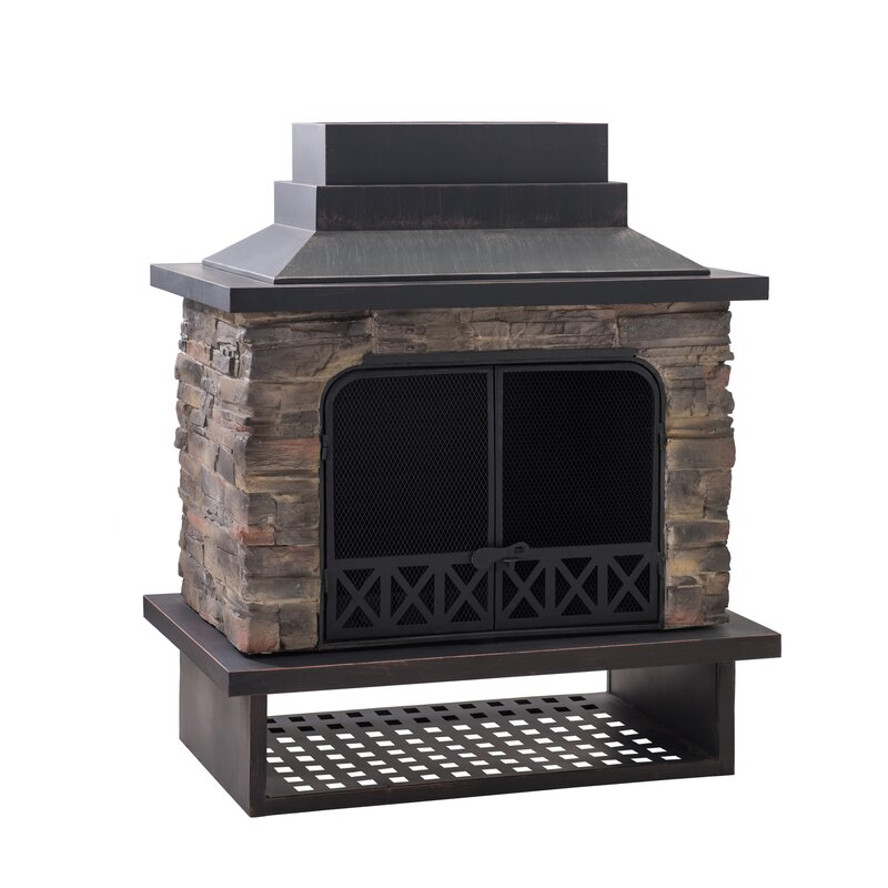 Darby Home Co Pirtle Steel Wood Burning Outdoor Fireplace