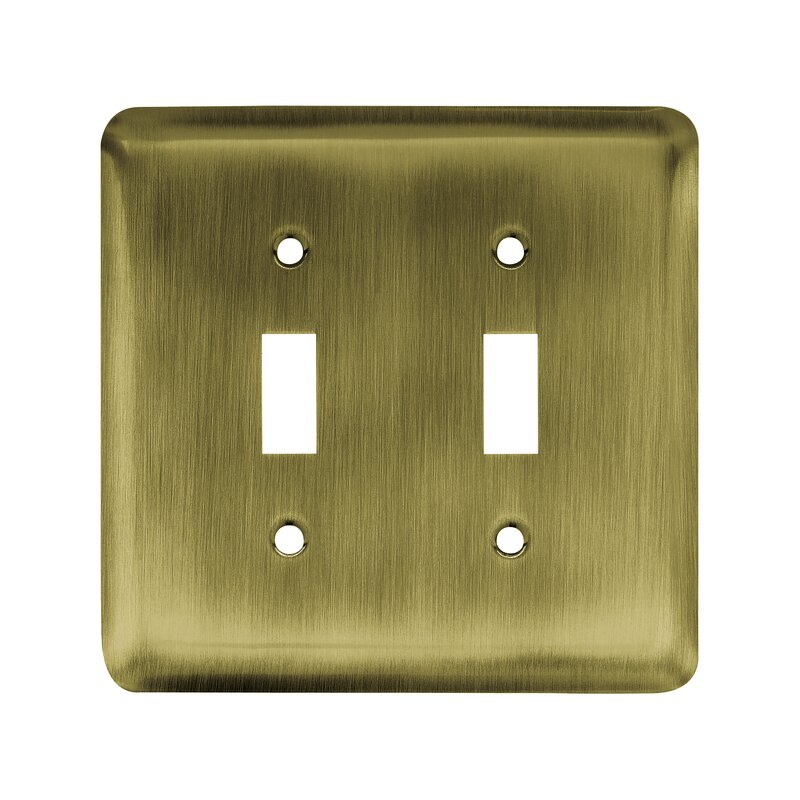 Stamped Round 2-Gang Toggle Light Switch Wall Plate