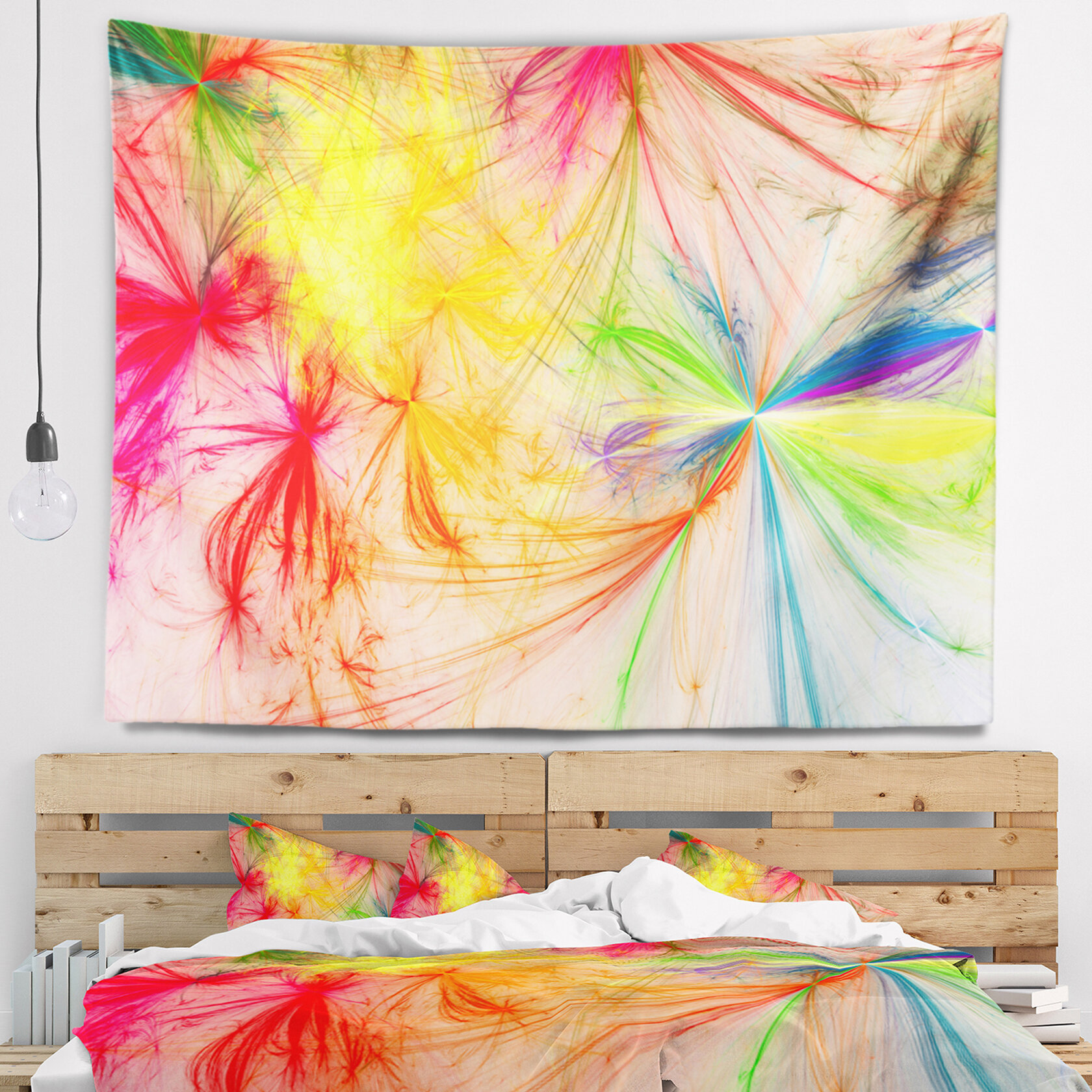 East Urban Home Abstract Christmas Fireworks Colorful Tapestry and ...