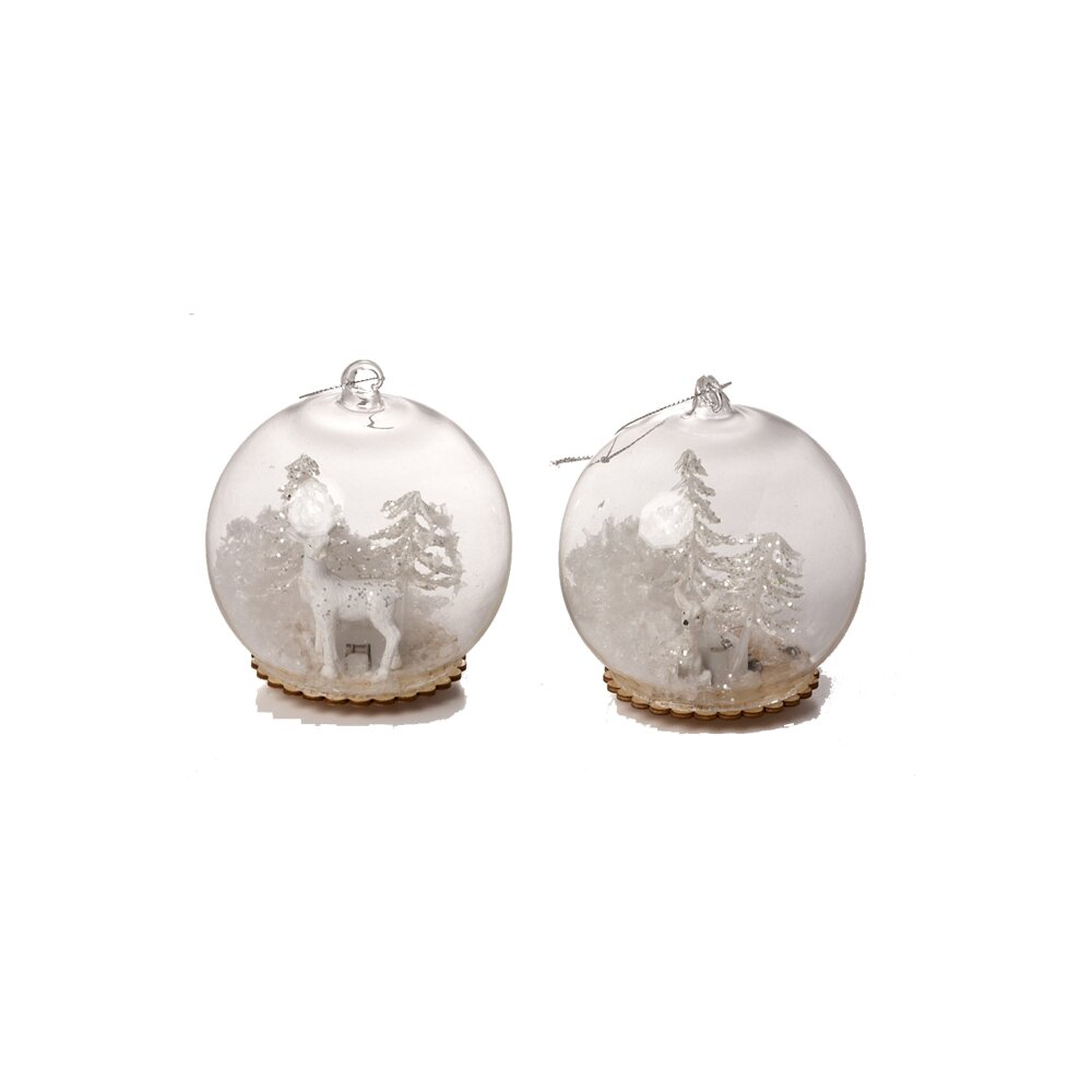 The Holiday Aisle 2 Piece Hanging Deer And Tree Ball Ornament Set Wayfair