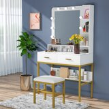 Benhurst Vanity Set with Stool and Mirror by Everly Quinn