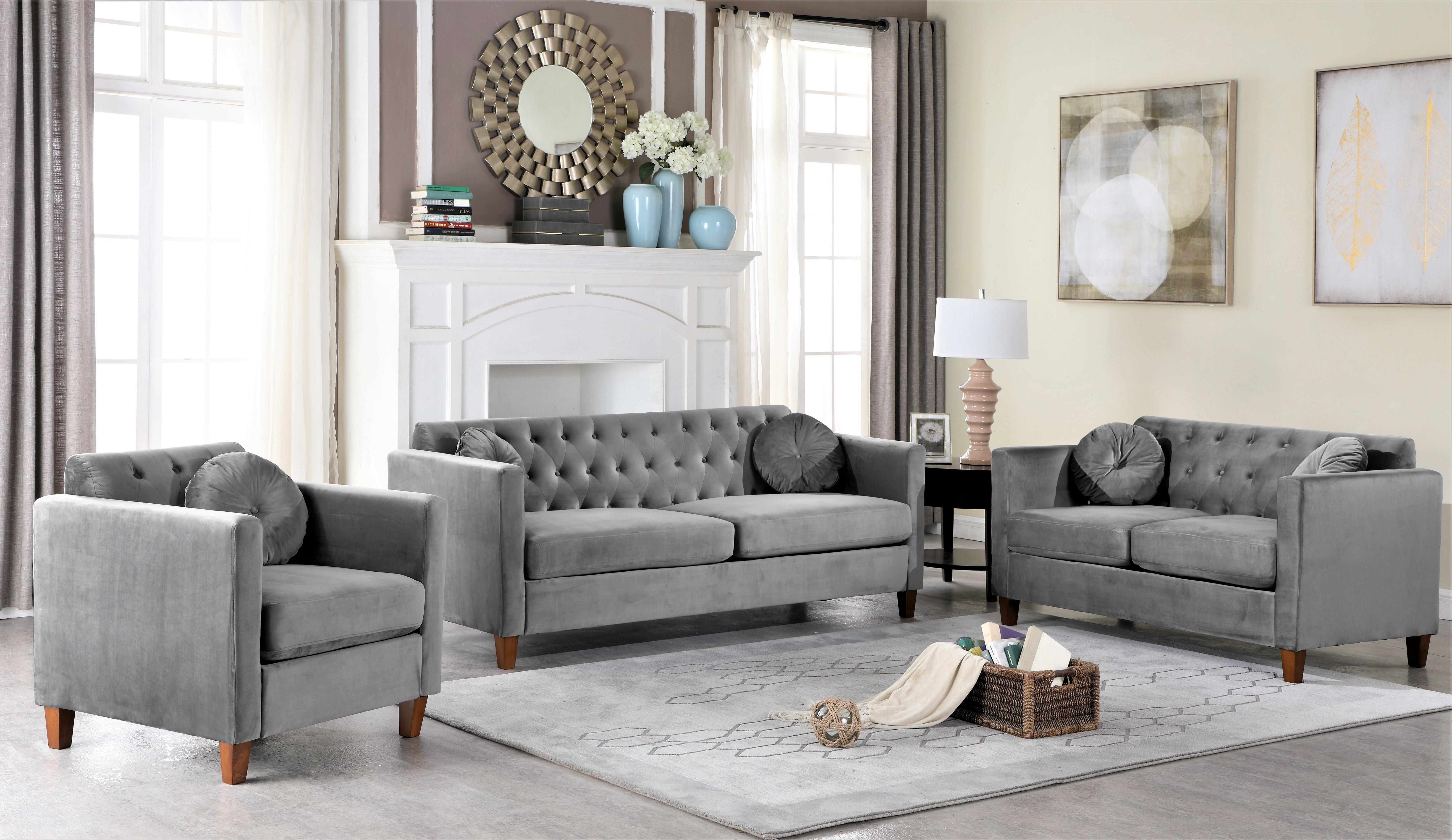 Persaud Velvet Classic Chesterfield 3 Piece Living Room Set