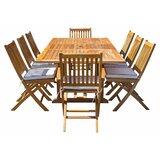 Everleigh 9 Piece Teak Sunbrella Dining Set with Sunbrella Cushions