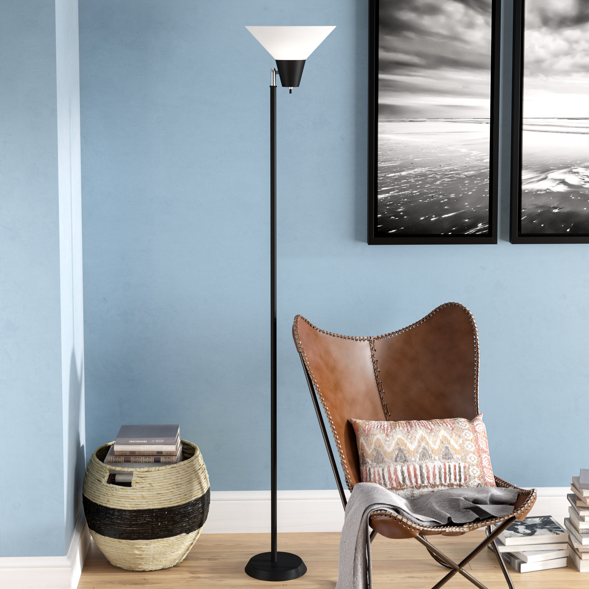 Image of: Ebern Designs Fernwood 71 5 Torchiere Floor Lamp Reviews Wayfair