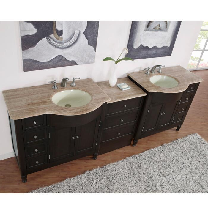 "Custom Bathroom Vanities Hamilton silkroad exclusive hamilton 95"" double bathroom vanity set"