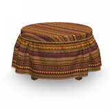 African Exotic Eyes 2 Piece Box Cushion Ottoman Slipcover Set by East Urban Home