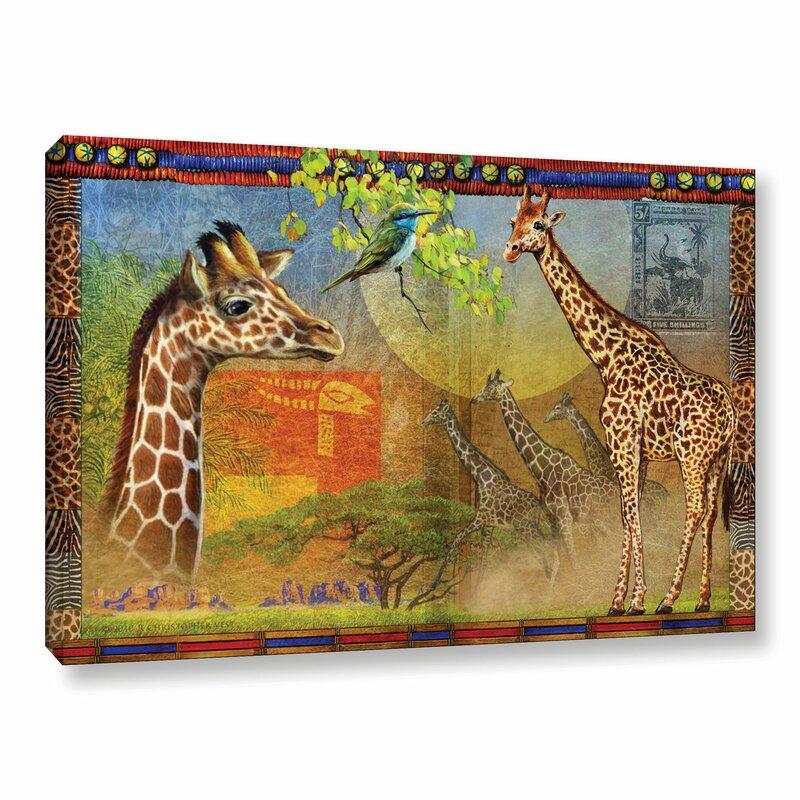 Bloomsbury Market African Giraffe Graphic Art On Wrapped Canvas Wayfair