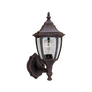 Affordable Slusser 1-Light Glass Shaded Outdoor Wall lantern By Charlton Home