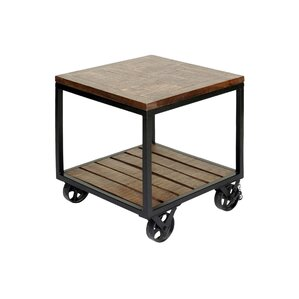 Jamila 2 Tier Industrial Trolley Wheel End Table by 17 Stories