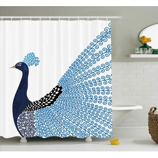 Kellie Animal Exotic Wild Magnificent Bird With Feather Peacock Modern Image Artwork Single Shower Curtain