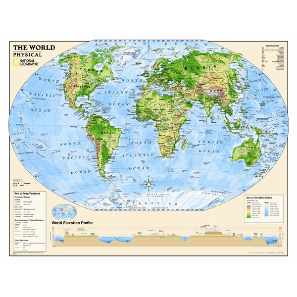 National Geographic Maps Kids Physical World Wall Map Grades - World elevation map