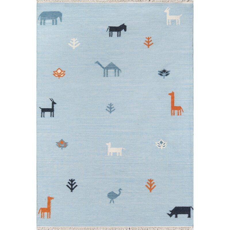 Thompson Porter Hand-Woven Wool Blue Area Rug