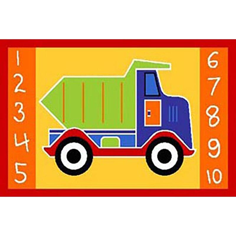 Zoomie Kids Sturdevant Kids Dump Truck Yellow Area Rug Wayfair
