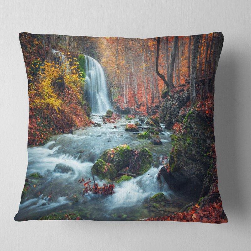 East Urban Home Landscape Photography Autumn Mountain Waterfall Long View Throw Pillow Wayfair