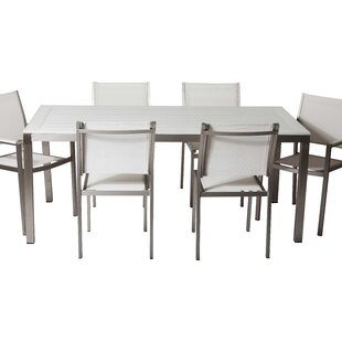 Latitude Run Gadberry 7-Piece Patio Dining Set in White