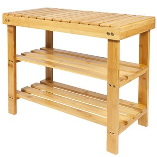 Natural Bamboo 2 Tier Shoe Rack By Rebrilliant