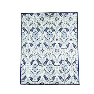 One Of A Kind Laguerre Crafts William Morris Hand Knotted Ivory Blue Area Rug