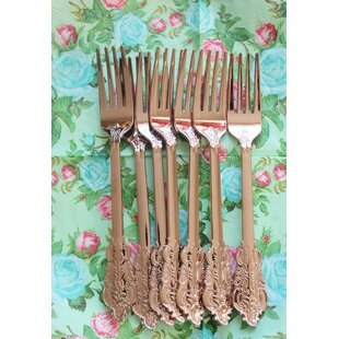 Rose Gold Copper Plastic Disposable Forks (Set of 10)
