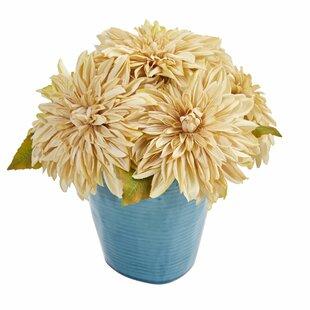 Dahlia Artificial Floral Arrangement in Blue Ceramic Vase