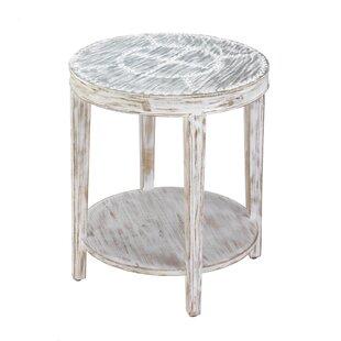 Seward Distressed Round Wood End Table by Nikki Chu