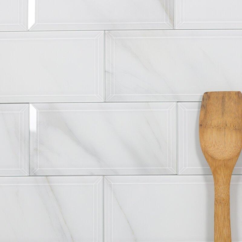Nature Wall Backsplash Beveled Edge 4 X 8 Gl Subway Tile In Calacatta White
