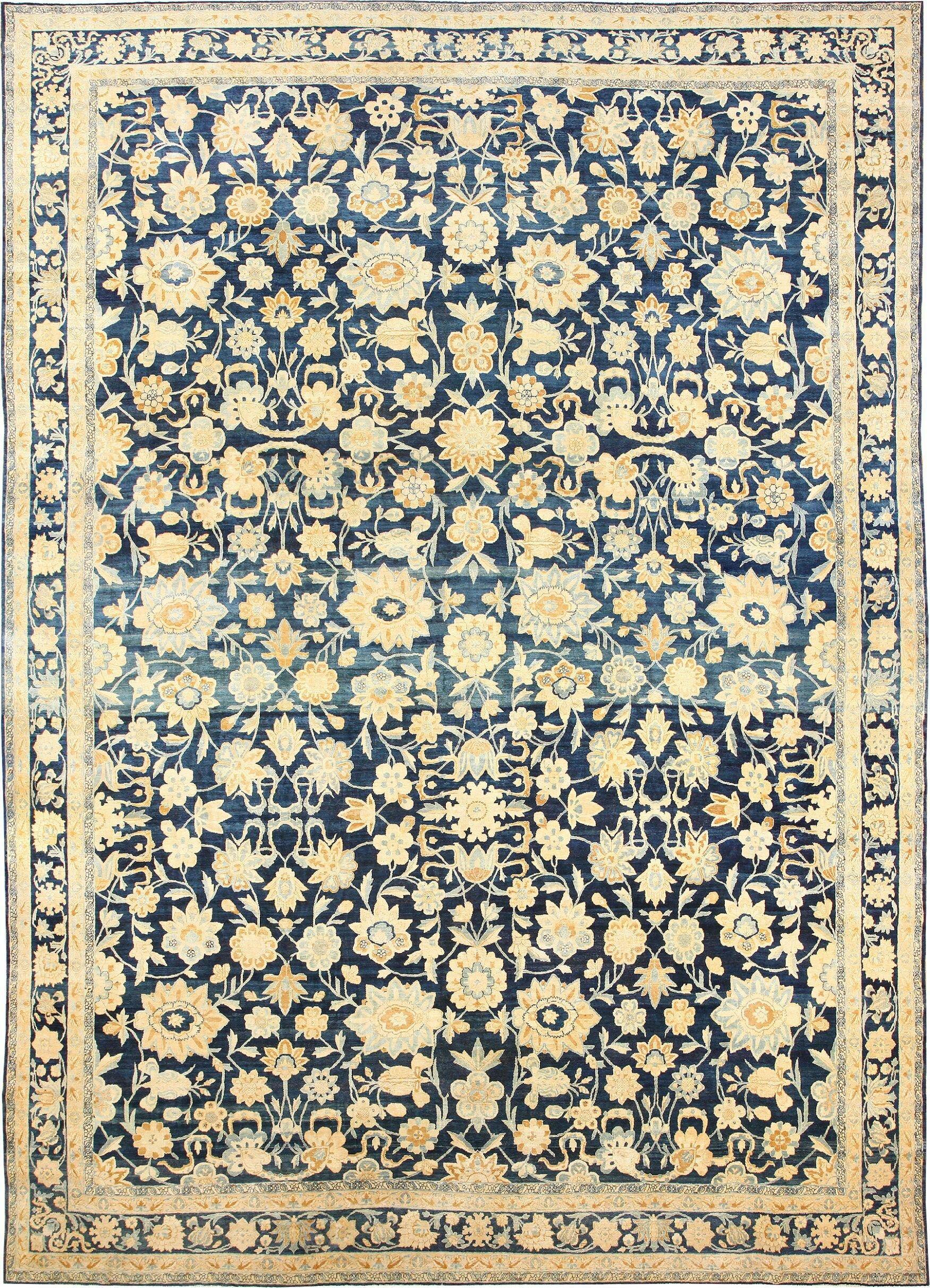 Kerman Persian Antique Yellow Blue Area Rug