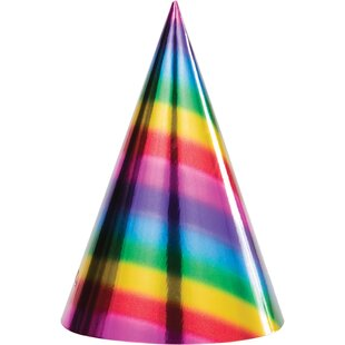 Rainbow Foil Hat Paper Disposable Party Favor (Set of 24)