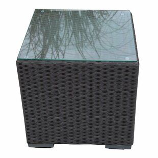 Abba Patio Outdoor Wicker Square End Table with Glass Top