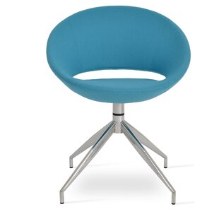 sohoConcept Crescent Spider Swivel Side Chair in Camira Wool - Turquoise