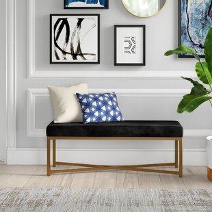 Lonon Rectangle Velvet Bench by Mercury Row