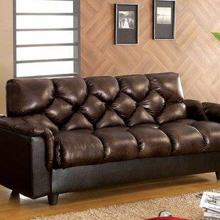 Brayden Studio Footman Leatherette Convertible Sofa