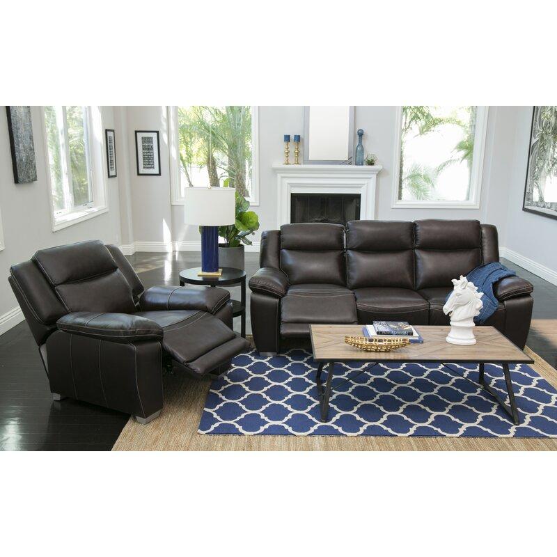 Evansburg 2 Piece Leather Living Room Set