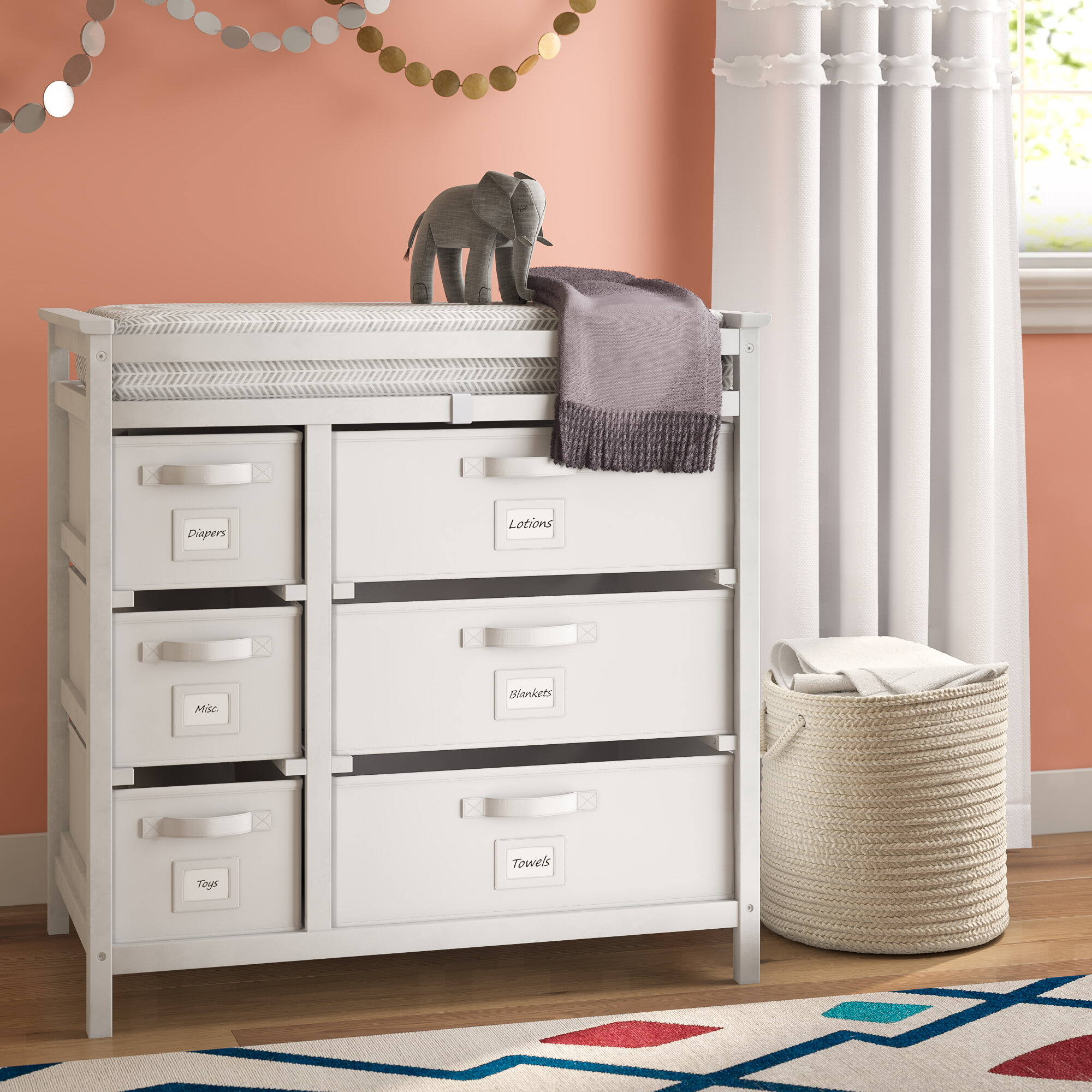 Heid Modern Changing Table with Pad and 6 Baskets