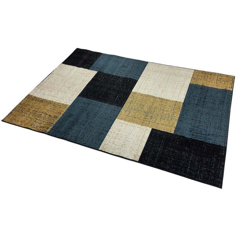 Orren Ellis Maroney Squares Geometric Beige Blue Black Area Rug