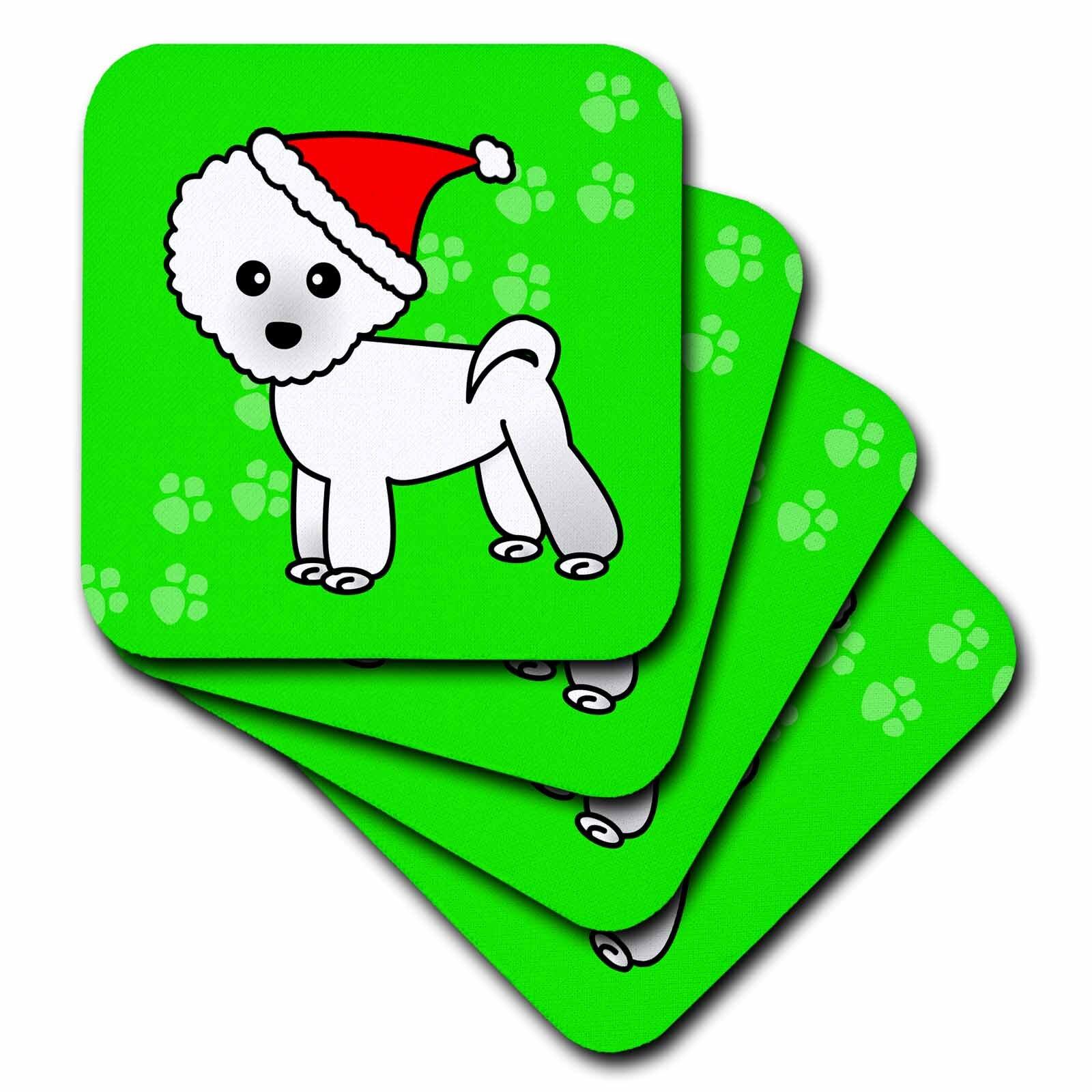 3drose Ceramic Tile Coasters Cute Bichon Frise Green Paw Background With Santa Hat Set Of 4 Cst 13818 3 Wayfair