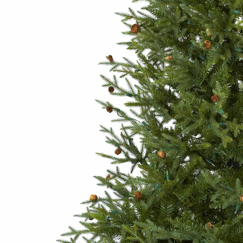 nearly natural 75 green classic pine and pine cone artificial christmas tree with 500 clear