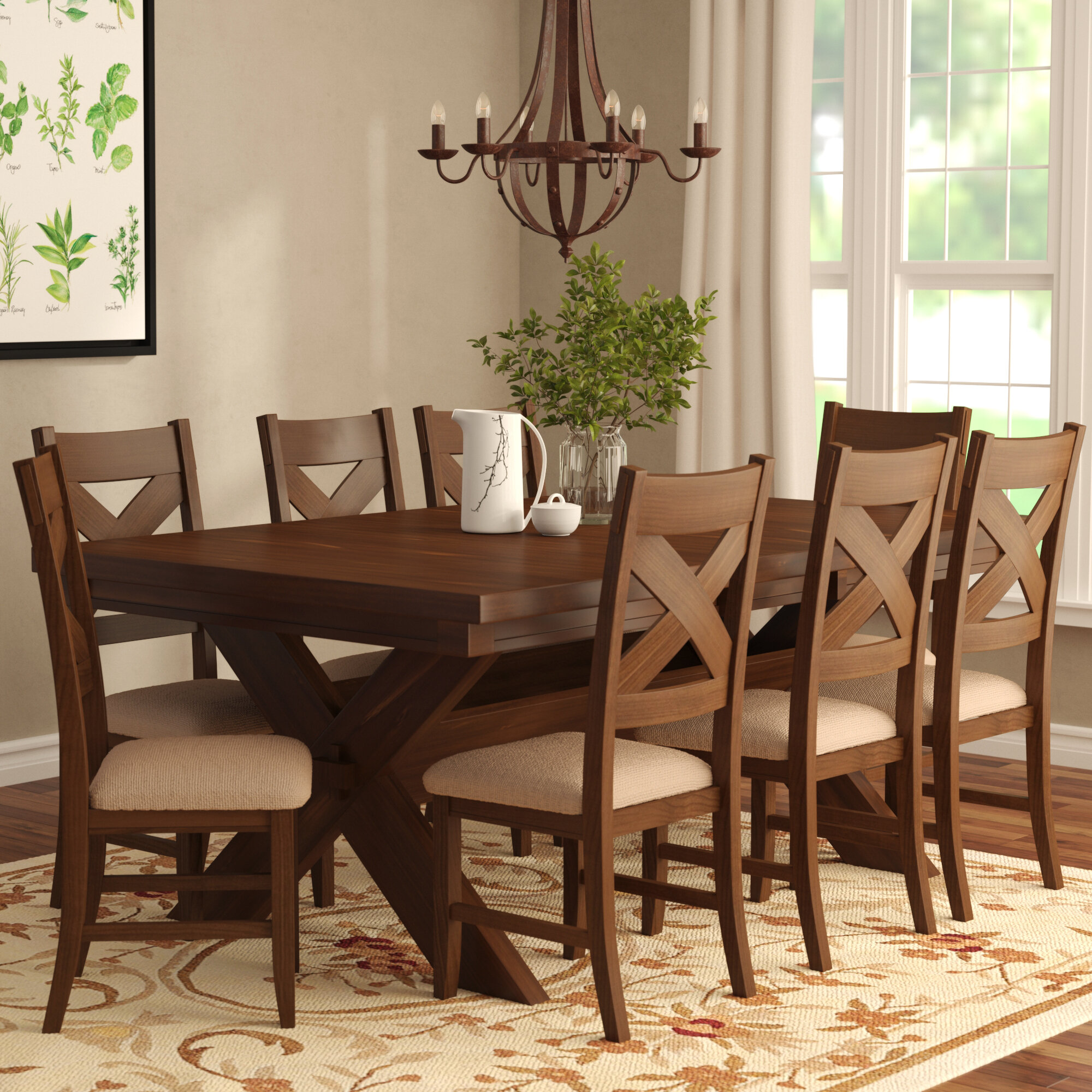 Laurel Foundry Modern Farmhouse Isabell 9 Piece Dining Set ...