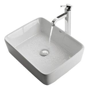 Kraus Ceramic Rectangular Vessel Bathroom Sink with Faucet