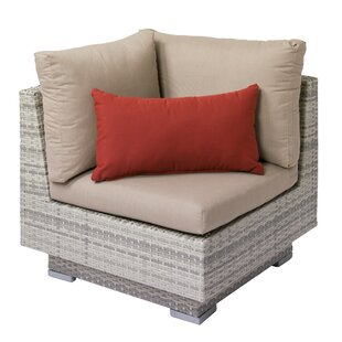 Meleri Patio Wicker Corner Chair with Sunbrella Cushion By Longshore Tides