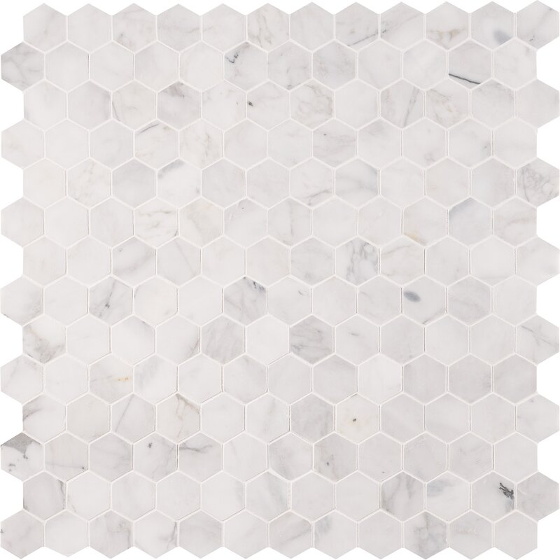 "Calacatta Cressa Hex Honed 2"" x 2"" Marble Mosaic Tile"
