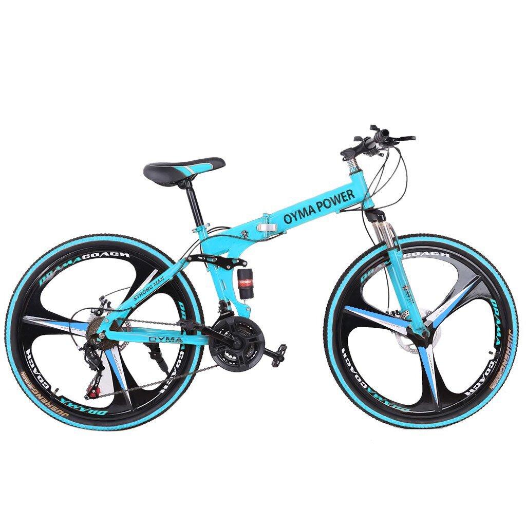 26in Folding Mountain Bike Shimanos 21 Speed Bicycle Full Suspension Disc Brakes