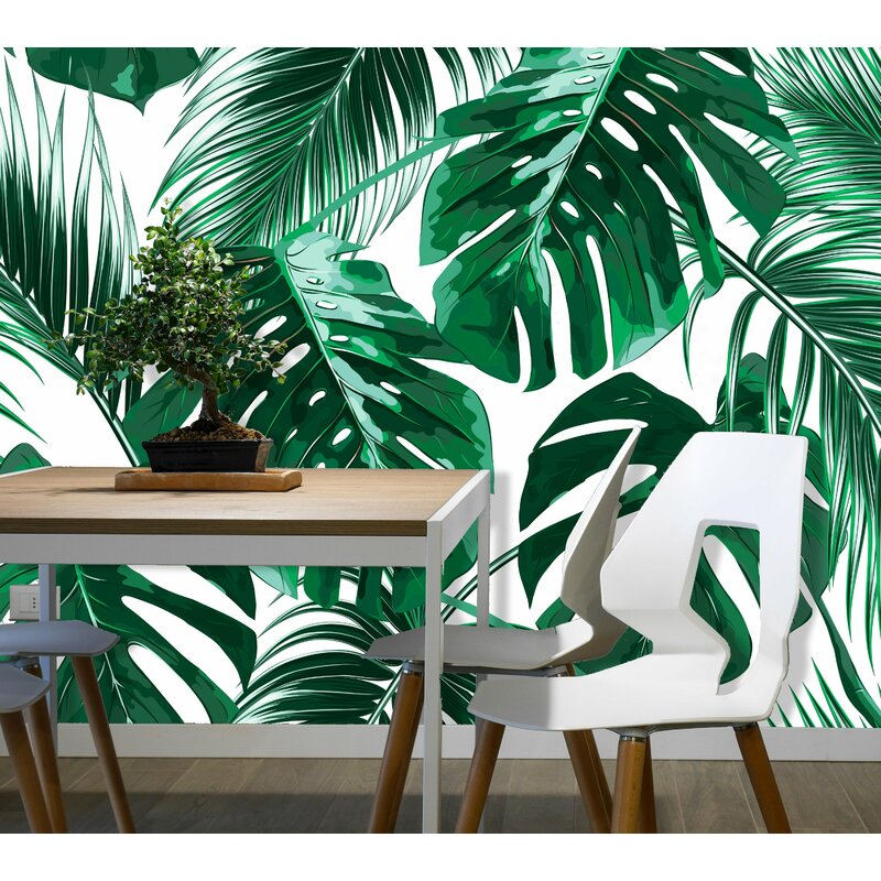 Bay Isle Home Agnon Removable Tropical Palm Leaves 3 92 L X 75 W Peel And Stick Wallpaper Roll Wayfair
