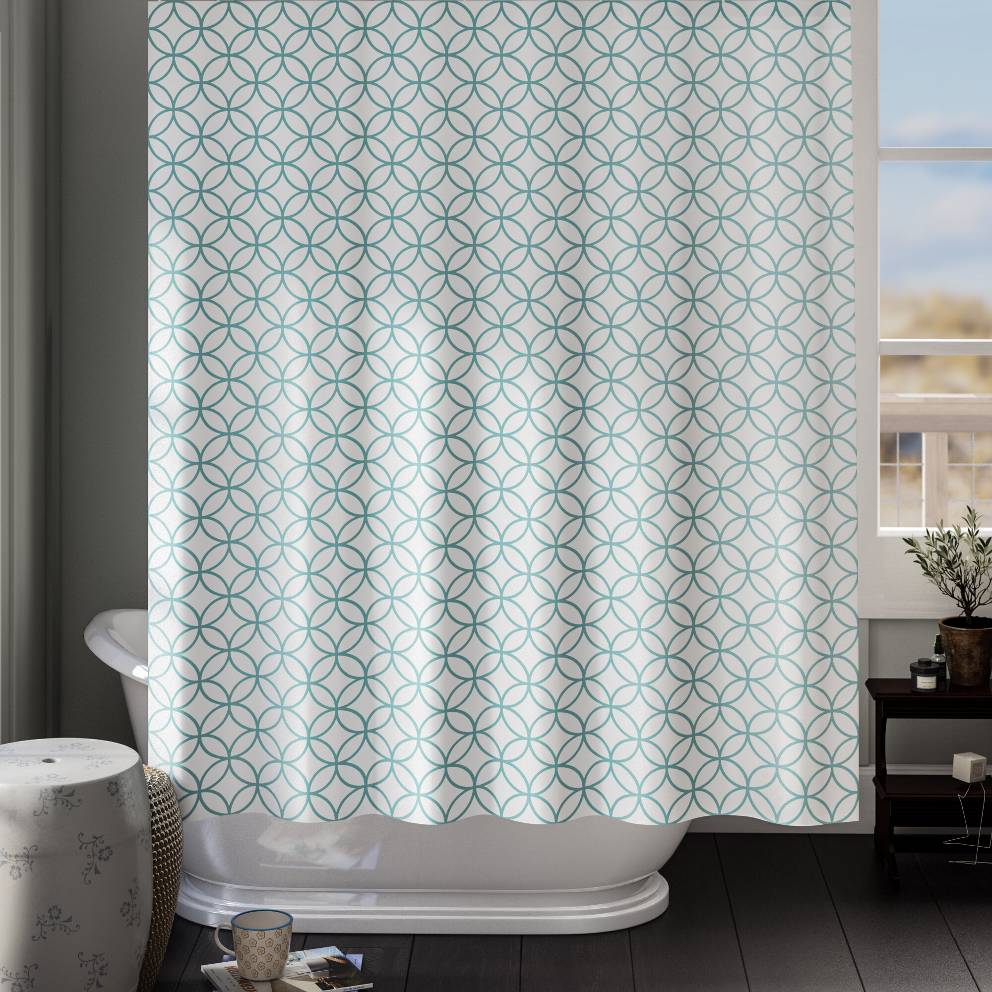 Bella 18 Piece Shower curtain set with Geometric design Made of 100/% polyester.
