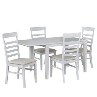 Julius 5 Piece Drop Leaf Solid Wood Dining Set by August Grove