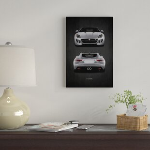 'Jaguar F-Type, Front & Back' Graphic Art Print on Canvas By East Urban Home