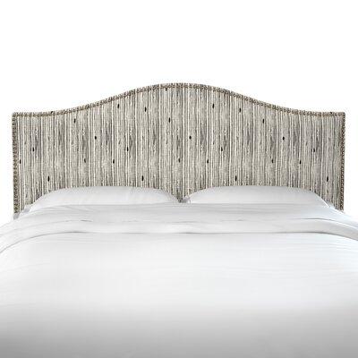 Brayden Studio Poyner Shibori Stripe Ink Linen Upholstered Panel Headboard Size: Full