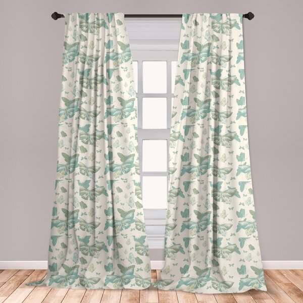 East Urban Home Art Nouveau Geometric Room Darkening Rod Pocket Curtain Panels Wayfair