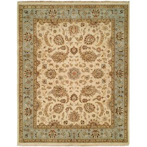 Rason Hand-Knotted Ivory/Light Blue Area Rug